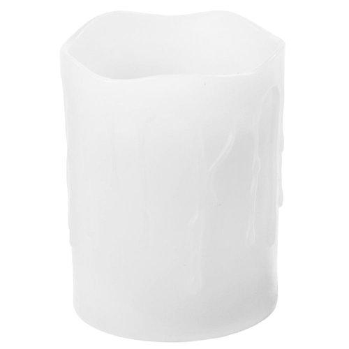 LED sviečka stekajúca biela 7,5x10cm