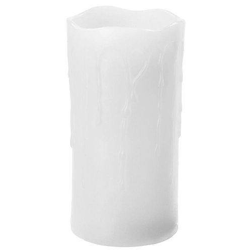 LED sviečka stekajúca biela 7,5x15cm