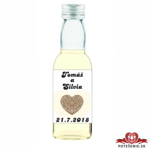 Svadobné mini fľaštičky pre hostí, motív S51
