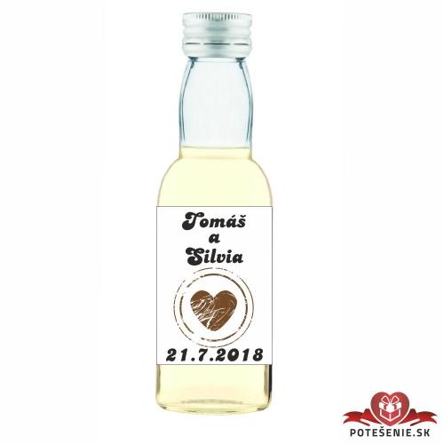 Svadobná mini fľaštička s alkoholom, motív S65 - Svadobné fľaštičky malé