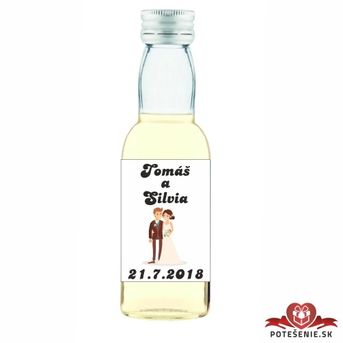 Svadobná mini fľaštička s alkoholom, motív S74 - Svadobné fľaštičky malé