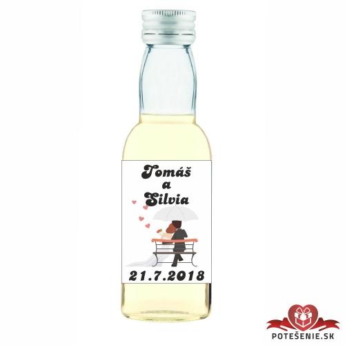 Svadobná mini fľaštička s alkoholom, motív S78 - Svadobné fľaštičky malé