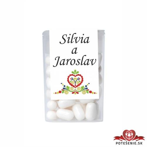Dražé cukríky pre svadobných hostí, motív S025