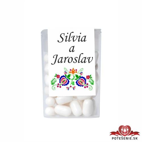 Dražé cukríky pre svadobných hostí, motív S032