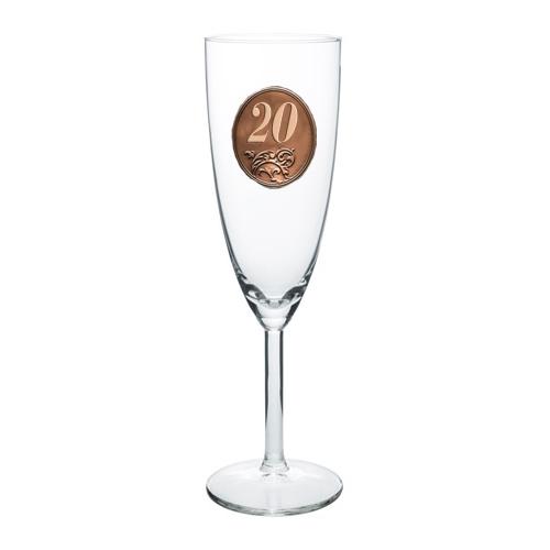 20  rokov Pohár na sekt a šampanské kovová etiketa
