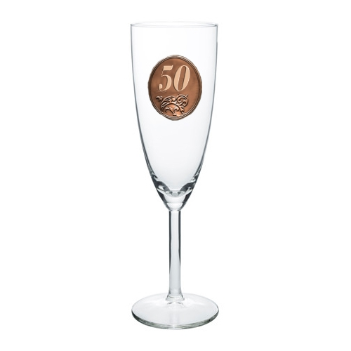 50  rokov Pohár na sekt a šampanské kovová etiketa