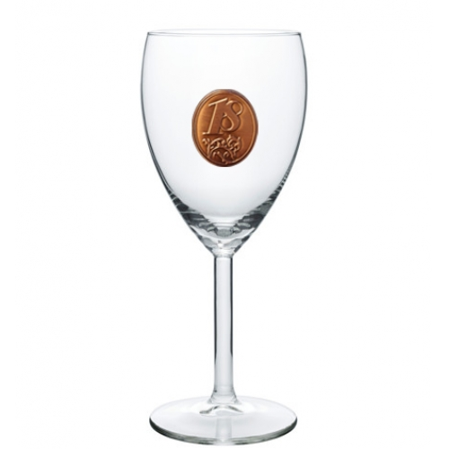 18 rokov Pohár na víno  kovová etiketa