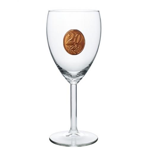 20  rokov Pohár na víno  kovová etiketa
