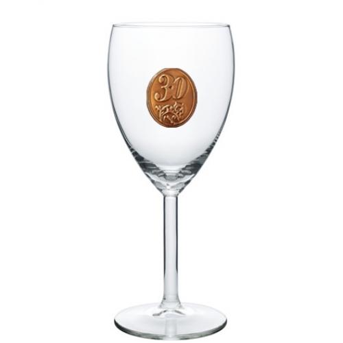 30  rokov Pohár na víno  kovová etiketa