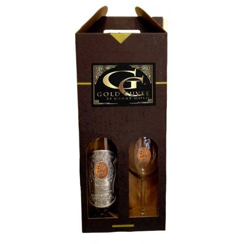 30 rokov Darčekový vínny set šumivé s 23 karátovým zlatom - pohár