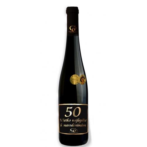 0,75 L Darčekové víno Červené Renana metalická  etiketa 50 rokov