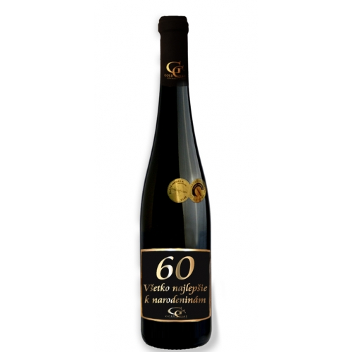 0,75 L Darčekové víno Červené Renana metalická  etiketa 60 rokov