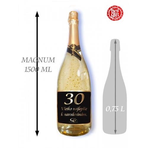 30 Narodeniny 1,5  L Gold Cuvee šumivé víno so zlatom