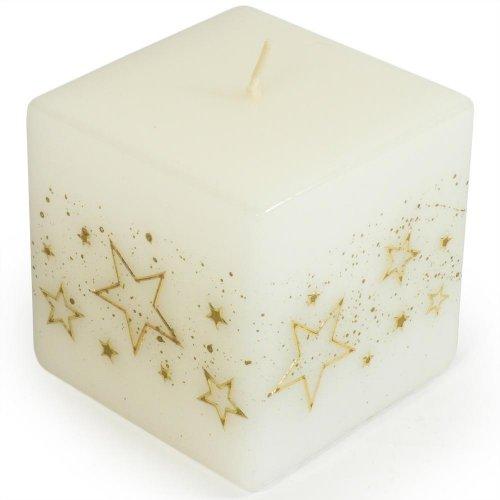 Biele hviezdy kvád.75x75 bie - Vianočné sviečky