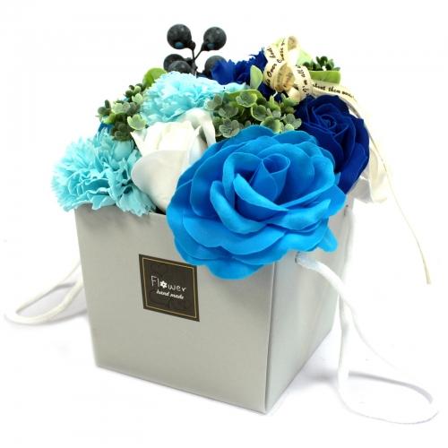 Mydlové kvety - svadobné modré - V darčekovej krabici