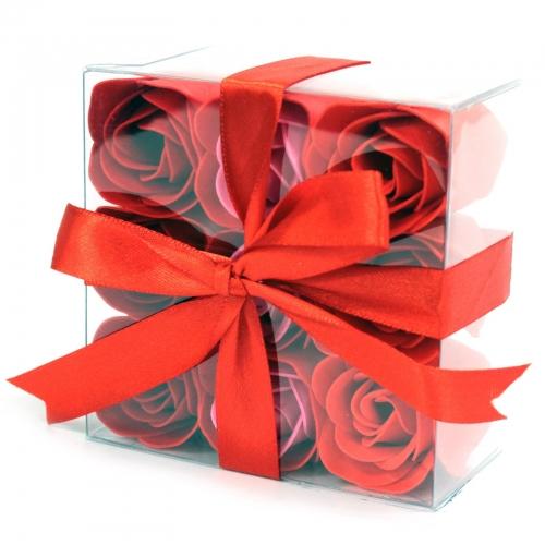 Sada 9 mydlových kvetov - červené ruže - Sada kvetov
