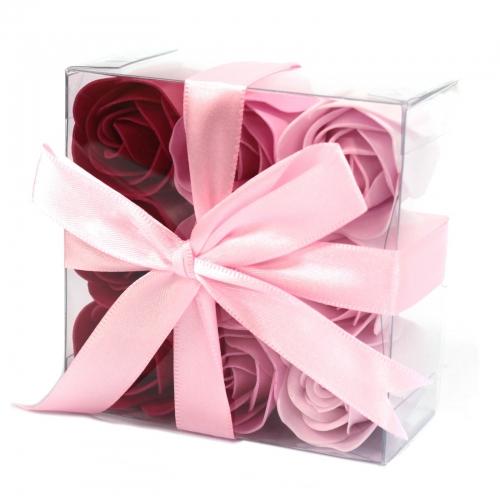 Sada 9 Mydlových Kvetov - Ružové Ruže - Mydlové kvety