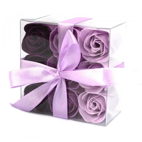 Sada 9 mydlových kvetov - levanduľové ruže - Sada kvetov