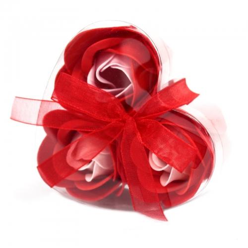 Sada 3 mydlových kvetov - červená ruža