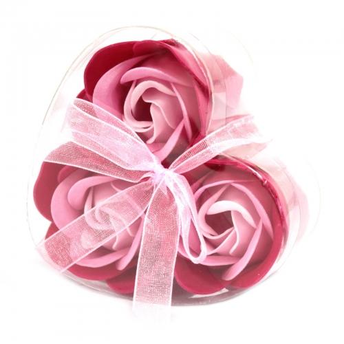 Sada 3 mydlových kvetov - ružová ruža