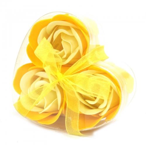 Sada 3 mydlových kvetov - jarná ruža - Mydlové kvety