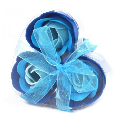 Sada 3 mydlových kvetov - svadobná modrá - Sada kvetov