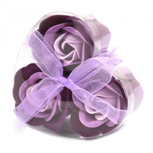 Sada 3 mydlových kvetov - levanduľová ruža - Mydlové kvety