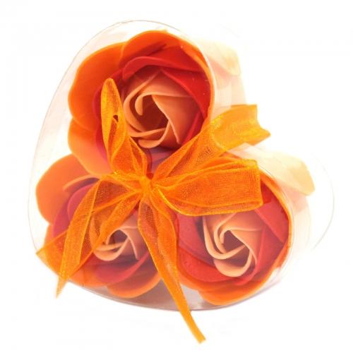 Sada 3 mydlových kvetov - broskyňová ruža - Sada kvetov