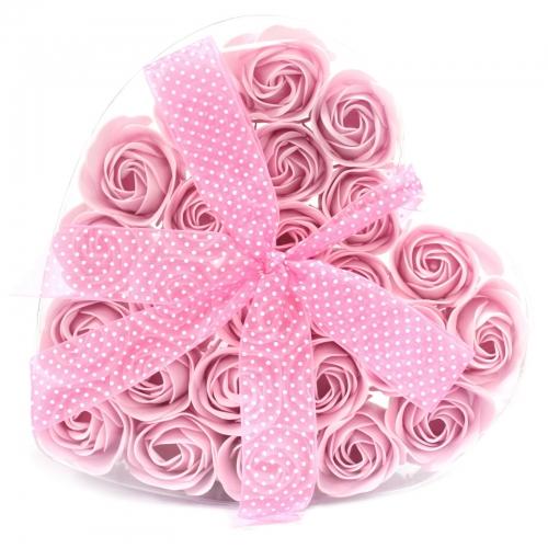 Sada 24 mydlových kvetov - ružová ruža - Sada kvetov
