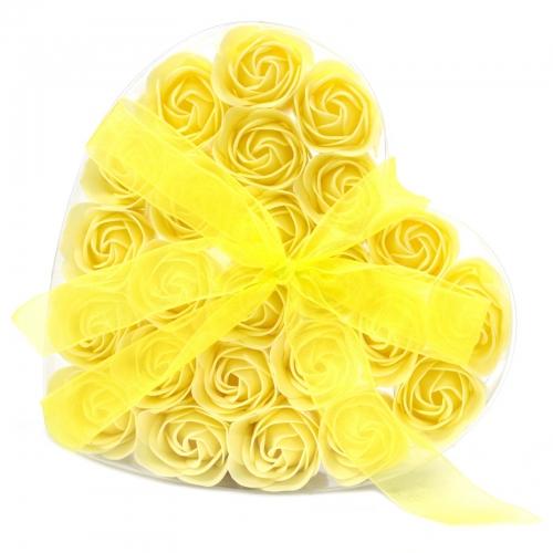 Sada 24 mydlových kvetov - žltá ruža - Mydlové kvety
