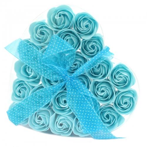 Sada 24 mydlových kvetov - modrá ruža - Mydlové kvety