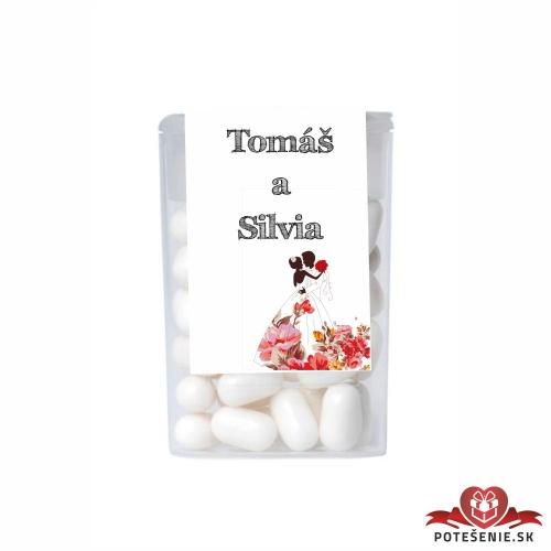 Dražé cukríky pre svadobných hostí, motív S134