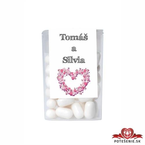 Dražé cukríky pre svadobných hostí, motív S174