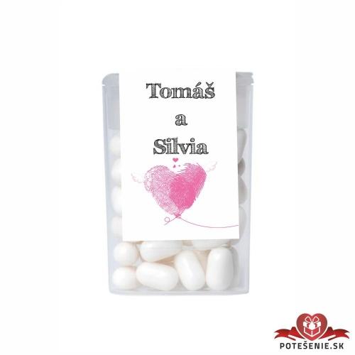Dražé cukríky pre svadobných hostí, motív S181