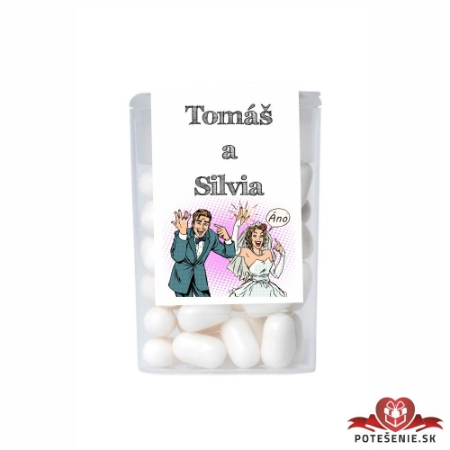 Dražé cukríky pre svadobných hostí, motív S186