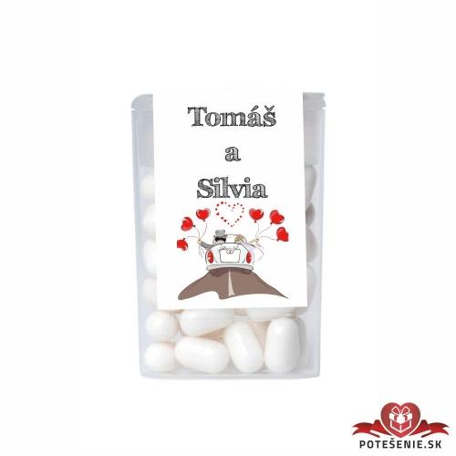 Dražé cukríky pre svadobných hostí, motív S197