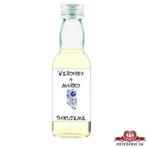 Svadobná mini fľaštička s alkoholom, motív S83 - Svadobné fľaštičky malé