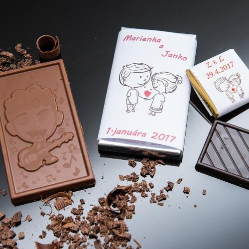 Svadobné mini čokoládky pre hostí, motív S289