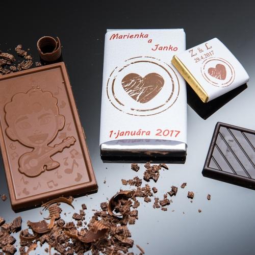 Svadobné mini čokoládky pre hostí, motív S339