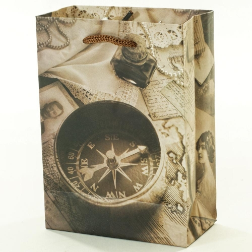 Darčeková taška kompas+noviny 11,5x6x16cm