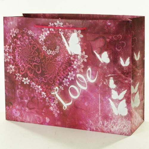 Darčeková taška love fialová 32x11x25,5cm