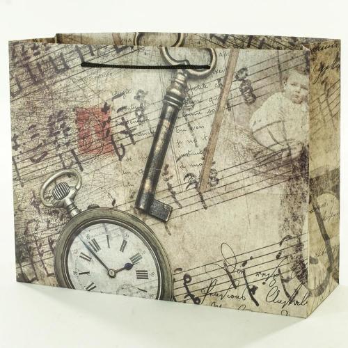 Darčeková taška vintage kľúč+noty 32x11x25,5cm