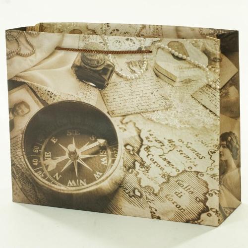 Darčeková taška vintage kompas+noviny 32x11x25,5cm