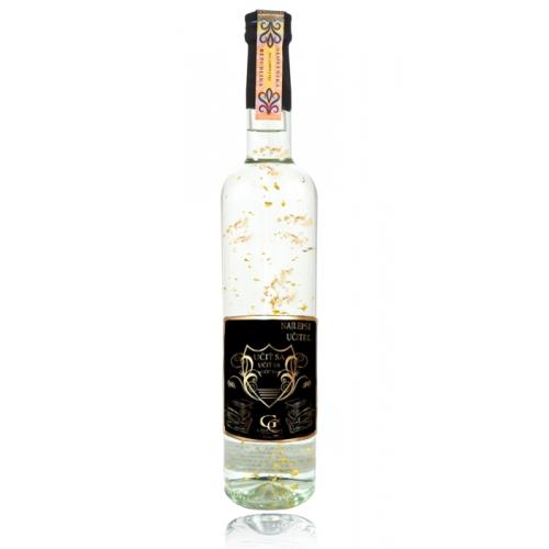 Darčeková fľaša - vodka (borovička) so zlatom najlepší učiteľ - Darčekové fľaše