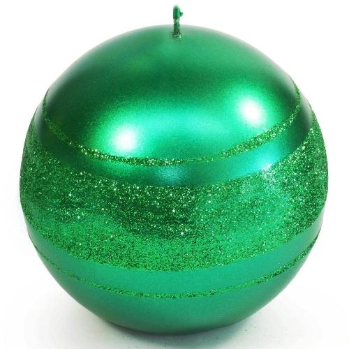 Briliant Met sviečka guľa 6cm zelená