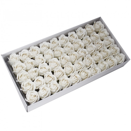Mydlové kvety, stredná ruža - biela