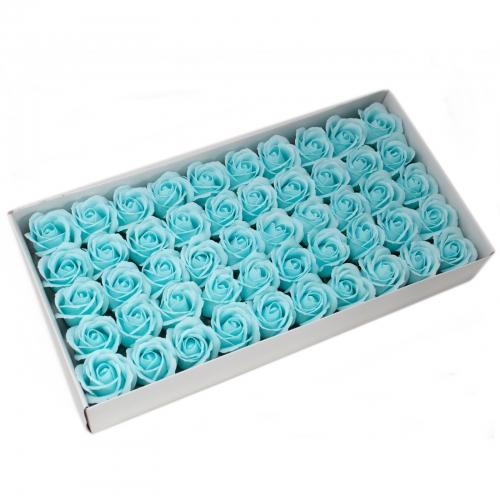 Mydlové kvety, stredná ruža - pastelová modrá - Mydlové kvety