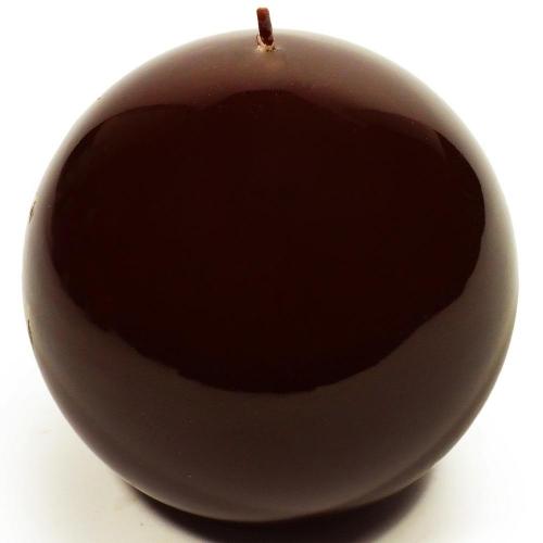 Sviečka lakovaná guľa 10cm hnedá