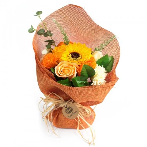 Stojaca mydlová kytica - oranžová - Mydlové kytice