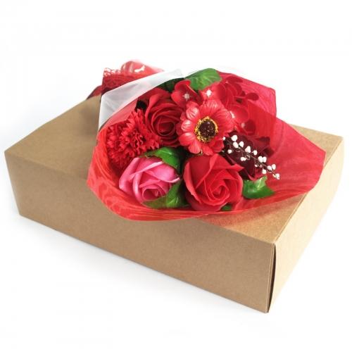 Mydlová kytica v krabici - červená - V krabici